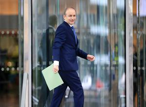 Micheál Martin pictured arriving the convention center for the sitting of the 33rd Dáil Picture Credit: Frank McGrath