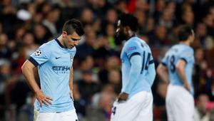 Football - FC Barcelona v Manchester City - UEFA Champions League Second Round Second Leg - The Nou Camp, Barcelona, Spain - 18/3/15 Manchester City's Sergio Aguero looks dejected  Action Images via Reuters / Carl Recine Livepic EDITORIAL USE ONLY.