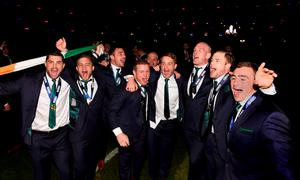 Paul O' Connell (third right) and team mates celebrate after the RBS Six Nations match.  (Photo by Stu Forster/Getty Images)