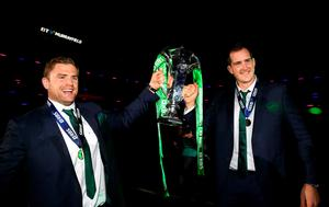 Jamie Heaslip and Devin Toner celebrate with the trophy.  (Photo by Richard Heathcote/Getty Images)