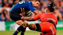 Rob Kearney is tackled by Mathieu Bastareaud during yesterday's Champions Cup Clash. Photo: Stephen McCarthy