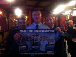Bernard Dunne and Dublin player Paul Flynn celebrating this morning in Dublin pub