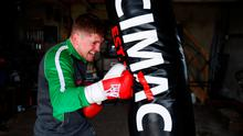 Jason Quigley has been training in his garage in Ballybofey, Donegal, while adhering to the guidelines of social distancing but hopes to be back in the ring later this summer. Photo: Stephen McCarthy/Sportsfile