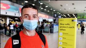 Luke Parnell from Ballyfermot who was travelling to Amsterdam at Dublin Airport. Steve Humphreys