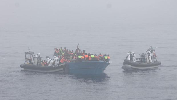 Irish Naval Service vessel LÉ Eithne is expected to arrive at an Italian port with almost 400 migrants rescued at sea over the weekend (Photo: Defence Forces)