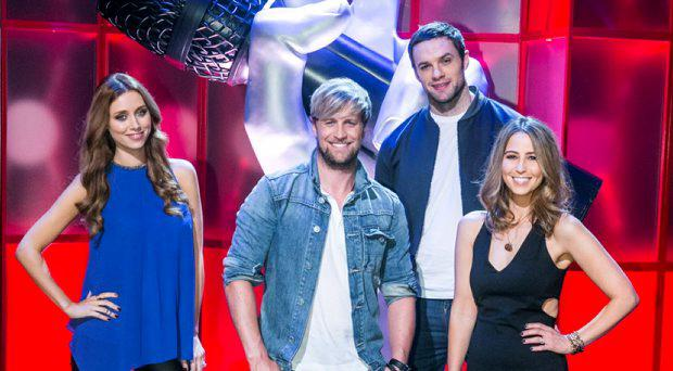 Una Foden, Kian Egan with Rachel Stevens and Bressie during a recording of The Voice of Ireland in The Helix