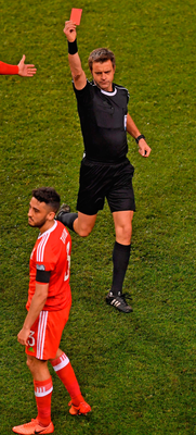 Neil Taylor of Wales is sent off by referee Nicola Rizzoli. Photo: Sportsfile