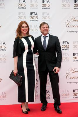 24/5/15 Sean Bean and wife Abigail Cruttenden pictured on the red carpet at the IFTA Awards at the Mansion House in Dublin. Picture: Arthur Carron