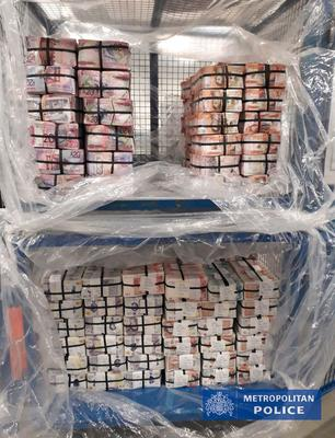 Photo of cash seized in Operation Venetic, an               investigation on Encrochat, a military-grade encrypted               communication system used by organised criminals trading               in drugs and guns. PA Photo.