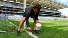 Croke Park pitch manager Stuart Wilson at work in his 'office' (Sportsfile)