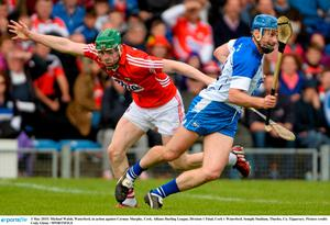 3 May 2015; Michael Walsh, Waterford, in action against Cormac Murphy, Cork. Allianz Hurling League, Division 1 Final, Cork v Waterford. Semple Stadium, Thurles, Co. Tipperary. Picture credit: Cody Glenn / SPORTSFILE