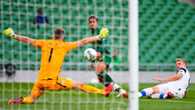 Callum Robinson has a shot saved by Finland goalkeeper Lukas Hradecky during last night's UEFA Nations League clash at the Aviva Stadium. Photo: Seb Daly/Sportsfile