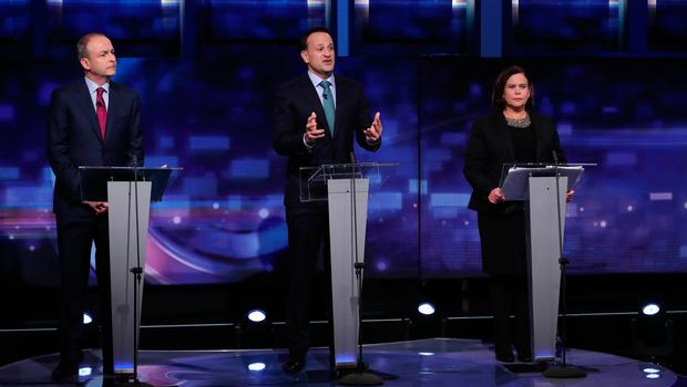 (left to right) Fianna Fail leader Micheal Martin, Fine Gael leader Leo Varadkar and Sinn Fein President Mary Lou McDonald during the final TV leaders' debate at the RTE studios in Donnybrook, Dublin. Photo: Niall Carson/PA Wire