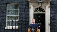 Britain's Prime Minister David Cameron speaks outside Number 10 Downing Street to announce he will form a new majority goverment, in London, Britain May 8, 2015. Prime Minister David Cameron won a stunning election victory in Britain, overturning poll predictions that the vote would be the closest in decades to sweep easily into office for another five years, with his Labour opponents in tatters    REUTERS/Stefan Wermuth