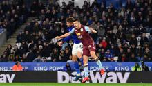 Crowded house: Leicester City's Havey Barnes battles with Aston Villa's Frederic Guilbert in front of a full house at the last Premier League game to be played back on March 9. Photo: PAUL ELLIS/AFP via Getty Images