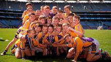 St Lawrence's BNS Kilmacud players celebrate after winning the Scaith Herald cup in the Allianz Cumann na mBunscol Finals in Croke Park