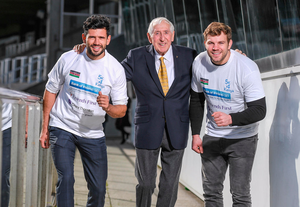 Dublin footballer Cian O'Sullivan, Olympic champion Ronnie Delany and Leinster rugby star Jordi Murphy at the launch of the charity 5km run in Leopardstown Picture: Sportsfile