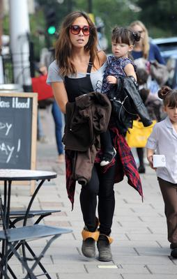 LONDON, UNITED KINGDOM - SEPTEMBER 20: Myleene Klass sighted on the school run with daughters Hero and Ava (R) Quinn on September 20, 2013 in London, England. (Photo by SAV/FilmMagic)