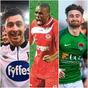 Left to right, Dundalk's Richie Towell, Sligo Rovers' Joseph Ndo and Cork City's Sean Maguire all made the Top 50, with Ndo prevailing as the best League of Ireland player of the past 20 years