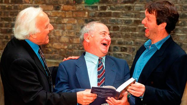 PARTNERS IN CRIME: Actors John Thaw, left, and Kevin Whately, right, joking with author Colin Dexter Picture: PA