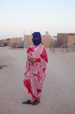 Tearah Salma photographed in traditional Sahrawi dress dress the 'mefhla' Smara Refugee Camp, Sahara.   Picture: Clare Keogh