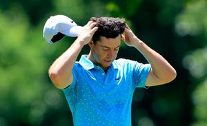 Rory McIlroy of Northern Ireland waits on the fourth tee during the third round of The Memorial Tournament at Muirfield Village Golf Club in Dublin, Ohio. (Photo by Sam Greenwood/Getty Images)
