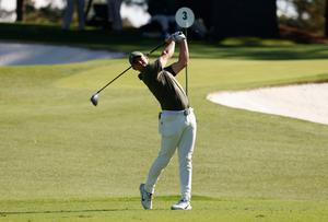 Rory McIlroy hits his tee shot on the 3rd hole during the second round of the Masters at Augusta National Golf Club