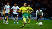 Norwich City's Adam Idah scores his side's fourth goal of the game from the penalty spot, completing his hat-trick during the FA Cup third round match at Deepdale, Preston. PA Photo