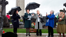 Rally cry: Sabina Higgins, wife of president Michael D Higgins, speaks at the graveside of Countess Constance Markievicz in Glasnevin Cemetery Photo: Tony Gavin