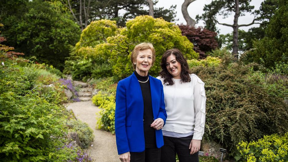 Power couple: Higgins with former Irish President Mary Robinson, with whom she co-hosted the climate change podcast Mothers of Invention