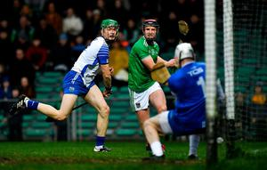 Close Call: Waterford goalkeeper Shaun O'Brien manages to get down and prevent Limerick's David Dempsey squeezing in a shot at the near post during Saturday night's Allianz NHL Division 1, Group A clash at the LIT Gaelic Grounds. Photo: Eóin Noonan/Sportsfile