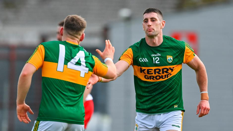 Paul Geaney of Kerry celebrates with team-mate Dara Moynihan after scoring his second and their side's fifth goal