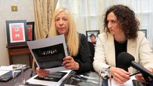 Antoinette Keegan, who survived the St Valentine's night tragedy but lost her two sisters Mary & Martina & Lynn Boylan MEP during a Stardust press conference at Buswells Hotel Dublin. Photo: Gareth Chaney Collins