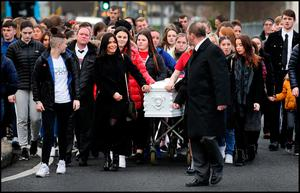The remains of Megan O'Connor who died following a freak accident arriving at the Church of St. Thomas The Apostle in Jobstown Tallaght. Photo: Steve Humphreys