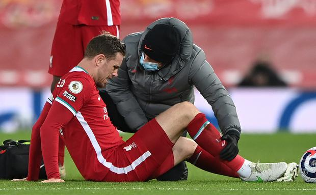 Jordan Henderson became the latest Liverpool player to hit by injury (Laurence Griffiths/PA)