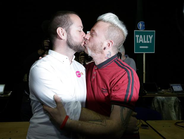 Michael Barron pictured with his husband  Jamie Nanci from Dublin, [ they were married in Capetown five years ago]  pictured at the Marriage Equality Referendum and the  Presidential Age Referendum count in the RDS Simmonscourt . Pic Frank Mc Grath