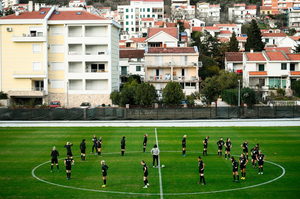ALL SET: Republic of Ireland players warm up during a training session at Pod Malim Brdom in Petrovac, Montenegro. Photo by Stephen McCarthy/Sportsfile