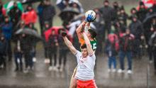 Paul Geaney of Kerry claims a high ball ahead of Rory Brennan of Tyrone during the Allianz Football League Division 1 Round 3 match at Edendork GAC in Dungannon, Co Tyrone. Photo by David Fitzgerald/Sportsfile