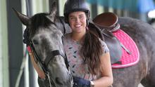Staying in the saddle: Kathryn Knox (23) from Co Antrim, with horse Seamus. Photo: Damien Eagers/INM