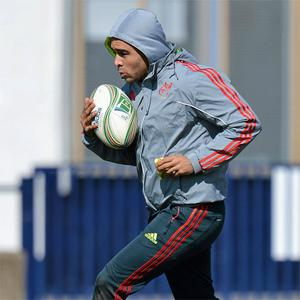 Munster's Simon Zebo in action during squad training ahead of their Heineken Cup quarter-final against Harlequins