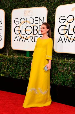 Actress Natalie Portman arrives at the 74th annual Golden Globe Awards