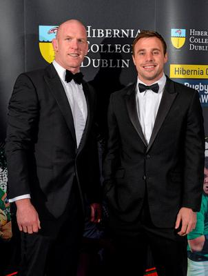 Munster and Ireland's Paul O'Connell, left, and Ulster and Ireland's Tommy Bowe in attendance at the Hibernia College IRUPA Rugby Player Awards 2015