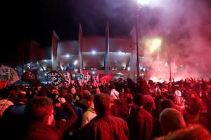 The scenes outside the Parc des Princes in Paris last Wednesday during the Champions League clash between PSG and Borussia Dortmund. Photo: Gonzalo Fuentes/Reuters