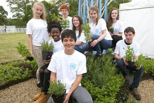 Students from Ashton School, Blackrock, Cork, at the Bloom Festival, Phoenix Park, Dublin, with a model of the garden they have created for their school to provide a calming space for students. Photo: Damien Eagersdissatisfied