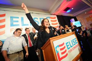 Pro-life Republican Elise Stefanik (30) addresses her supporters after she became the youngest woman ever to be elected to Congress. Photo credit: AP Photo/The Post-Star, Steve Jacobs