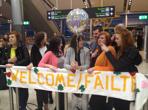 Family and friends wait for Patrick Lyttle to return from Australia.