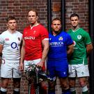 Captains, from left, Charles Ollivon of France, Stuart Hogg of Scotland, Owen Farrell of England, Alun Wyn Jones of Wales, Luca Bigi of Italy, and Jonathan Sexton of Ireland during the Guinness Six Nations Rugby Championship Launch 2020 at Tobacco Dock in London, England. Photo by Ramsey Cardy/Sportsfile