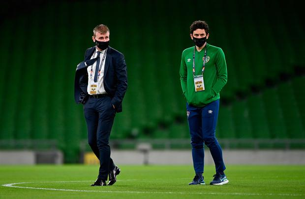 Republic of Ireland manager Stephen Kenny, left, and coach Keith Andrews prior to the UEFA Nations League B match between against Bulgaria at the Aviva Stadium. Photo by Seb Daly/Sportsfile
