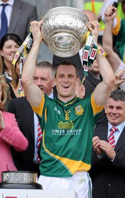 Meath captain Nigel Crawford lifts the Cup after Meath beat Louth in the 2010 Leinster SFC Final at Croke Park