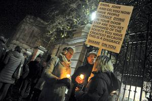 A candle lit vigil took place outside the Dail this evening to highlight the homelessness and housing crisis after a homeless man - who was in his forties - was discovered in a doorway on Molesworth Street in Dublin at around 8 o'clock yesterday morning